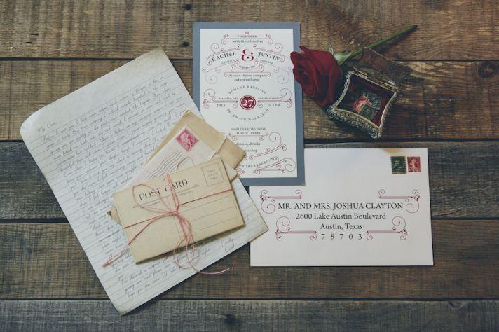 Vintage postcard themed wedding invitations