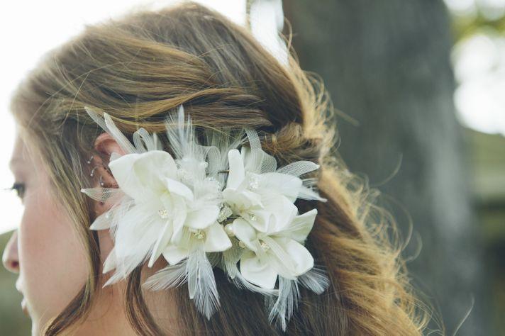 White floral hair fascinator