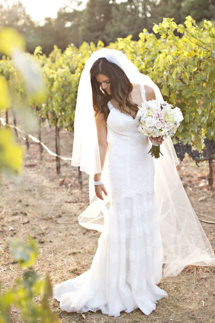 Lace wedding dress for a vineyard wedding