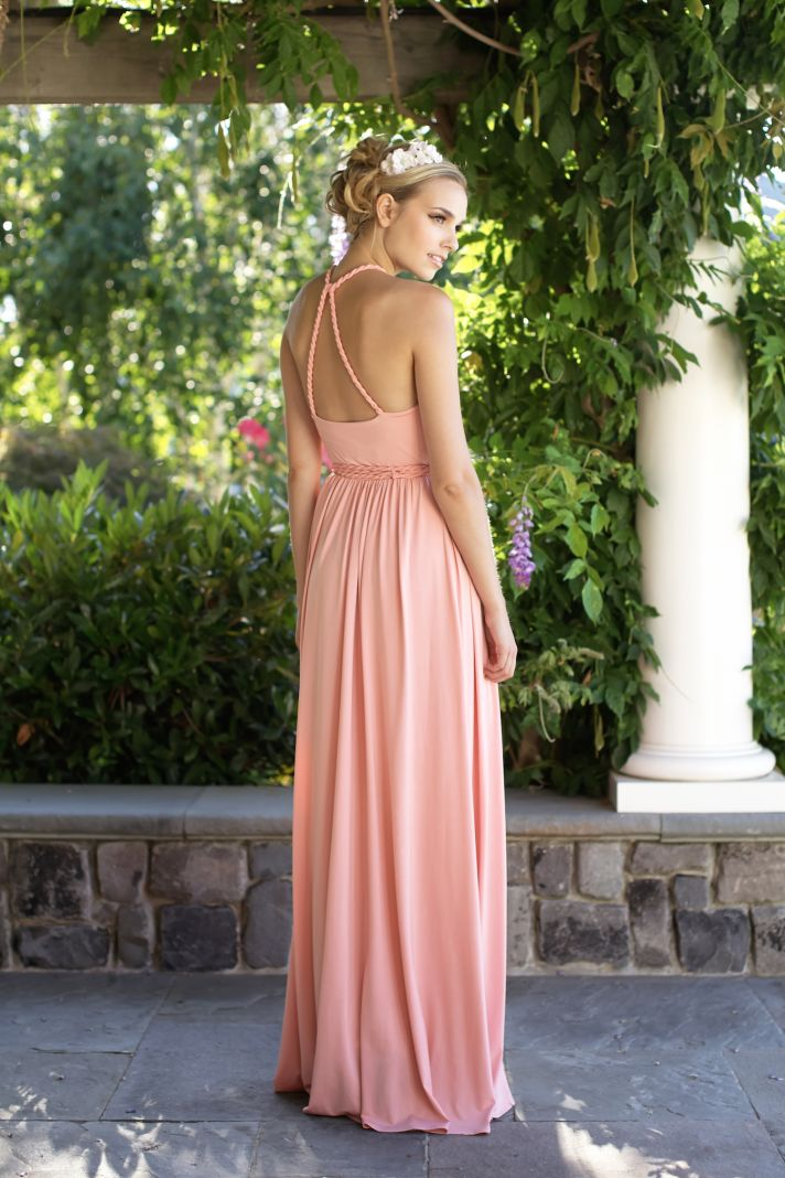 Pink floor length bridesmaids dress back