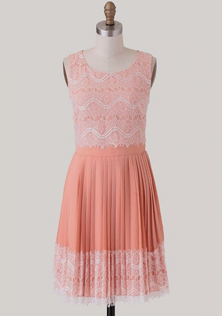 Fun Coral Dress with Lace Accents