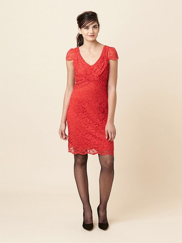 Short Red and Lacey Bridesmaid Dress