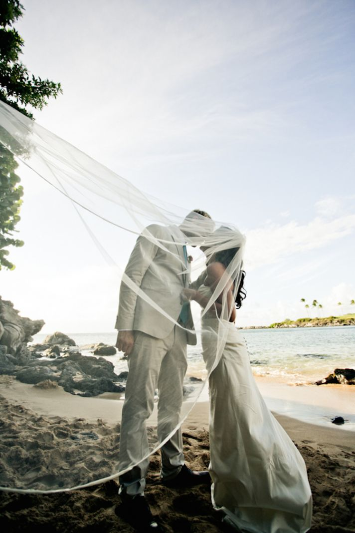 Veil Blowing on the Beach
