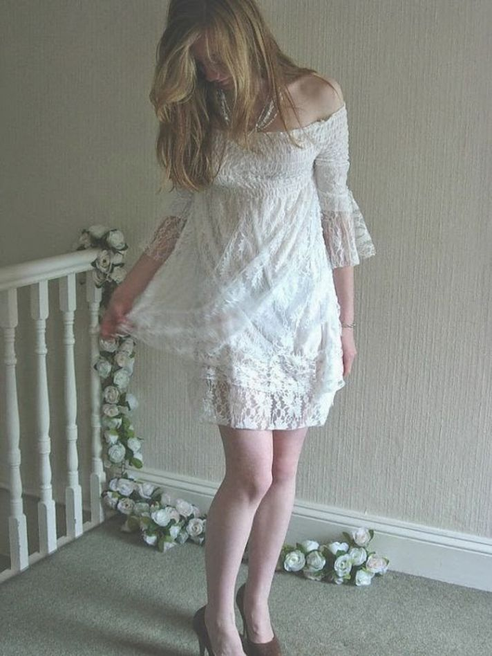 Short Shirred Lace Beach Wedding Dress