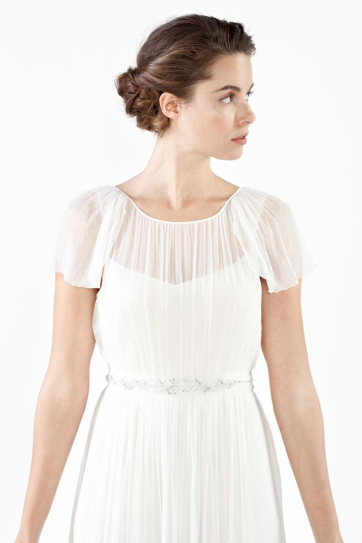 Illusion Neckline with Flutter Sleeves