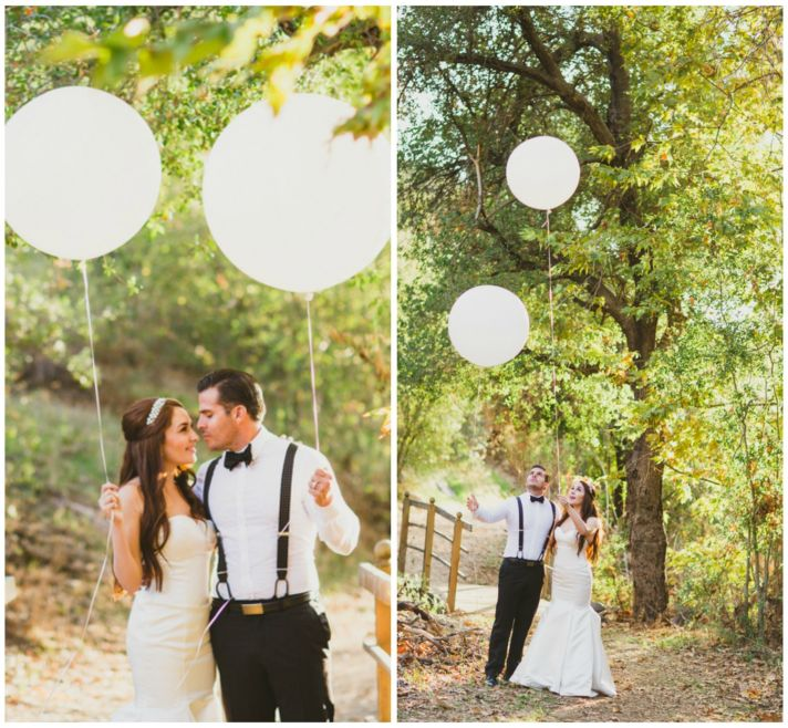 Bride and Groom Releasing Balloons