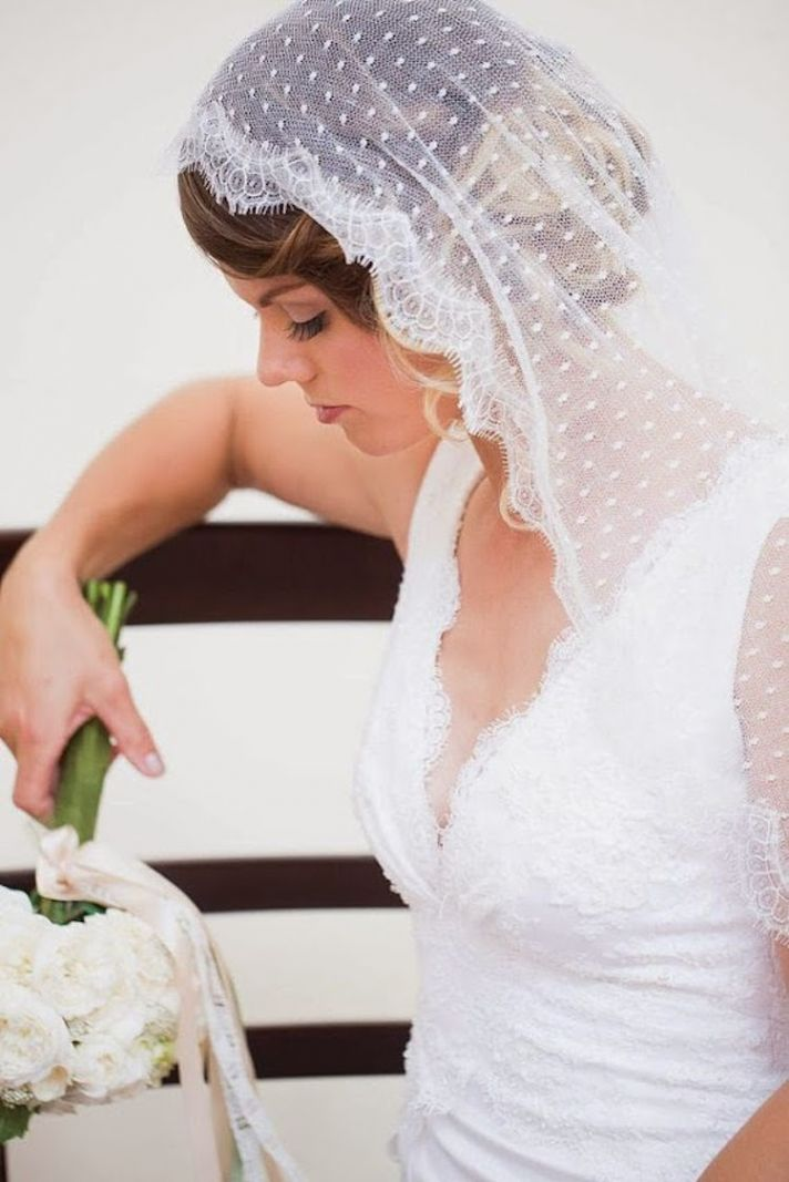 Polka Dot Details on Sheer Veil