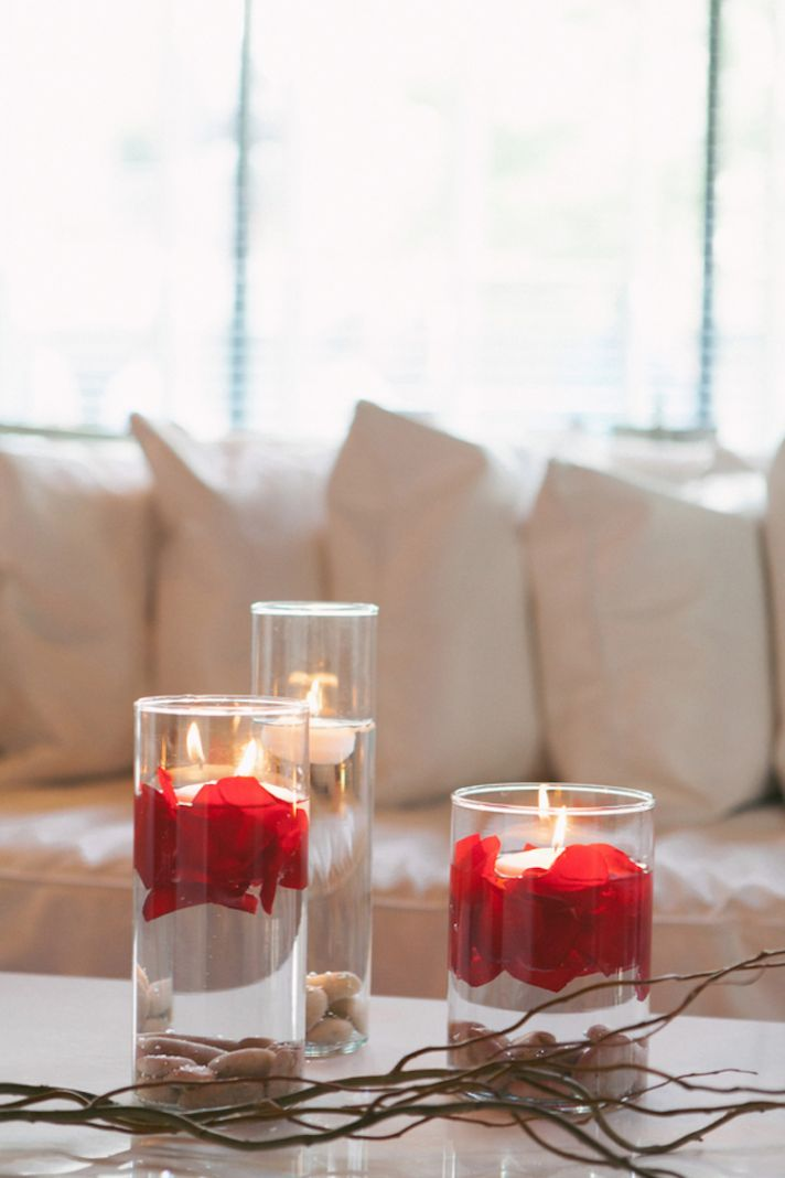 Floating Candles with Rose Petals