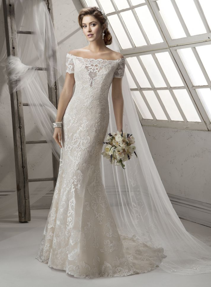 Illusion Off The Shoulder Neckline Wedding Gown