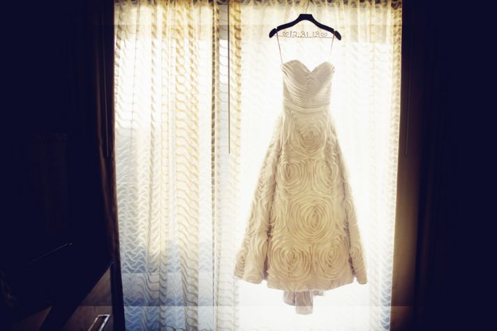 Ruched Rose Wedding Gown