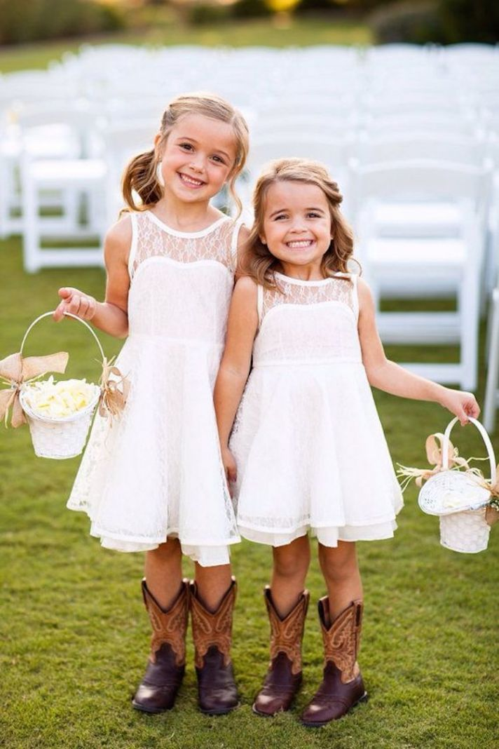 Adorable Cow Girl Flower Girls with Lace Dresses