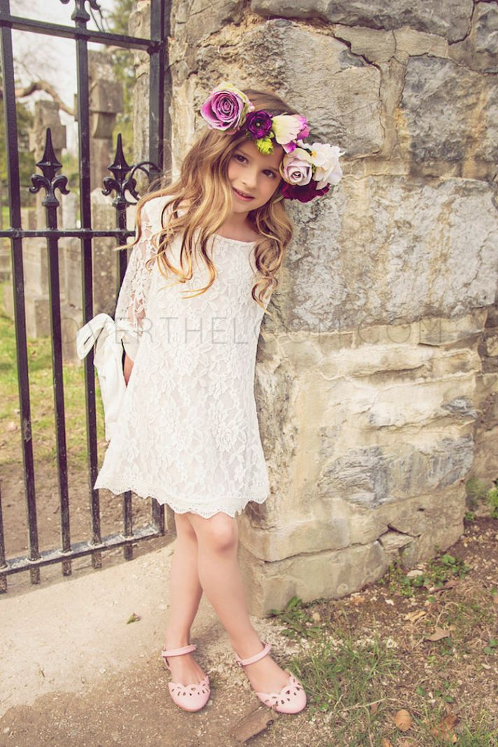 Sweet Lace Flower Girl Dress with Long Sleeves