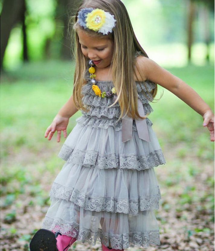 Rustic Gray Flower Girl Dress with Tiered Skirt and Lace Details