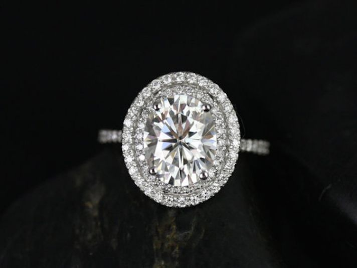 White Gold Oval Shaped Double Halo Engagement Ring