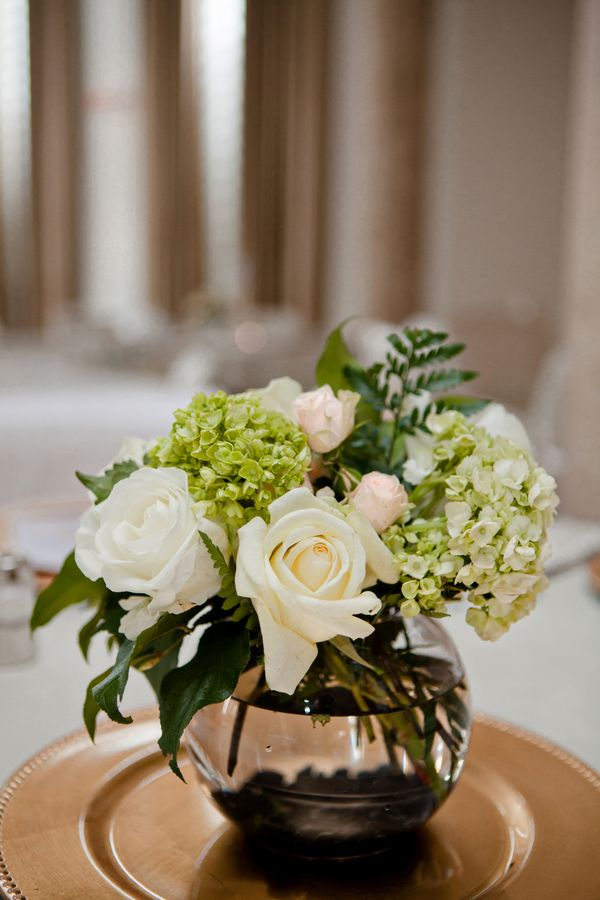 Classy Centerpiece with Roses and Hydrangeas