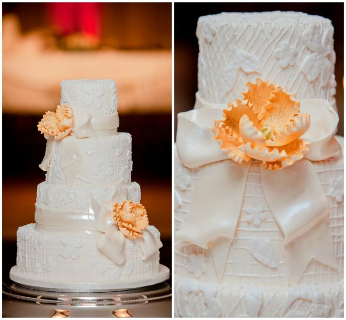 Beautiful White Cake with Orange Flower Details