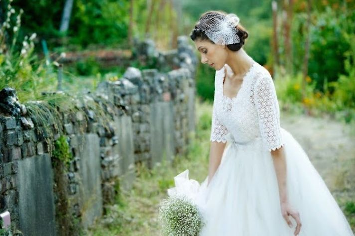Swiss Cotton Lace Bridal Gown