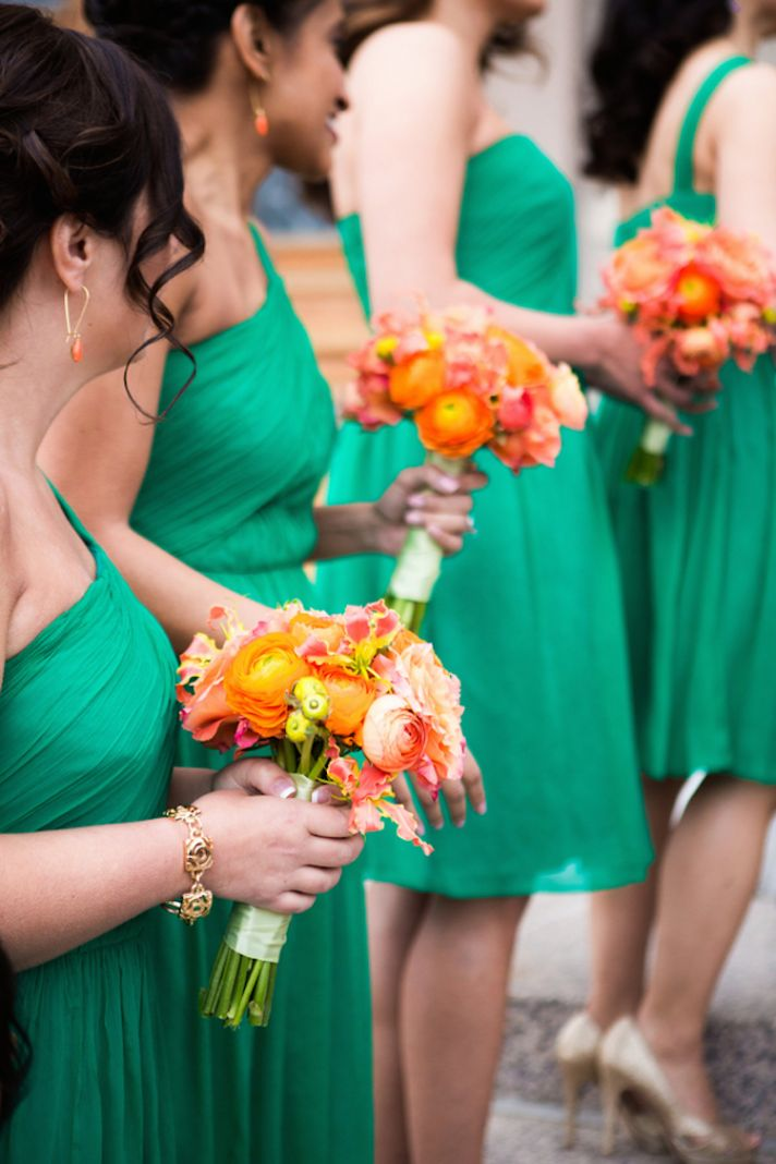 Green Bridesmaid Dresses with Bright Orange Blooms