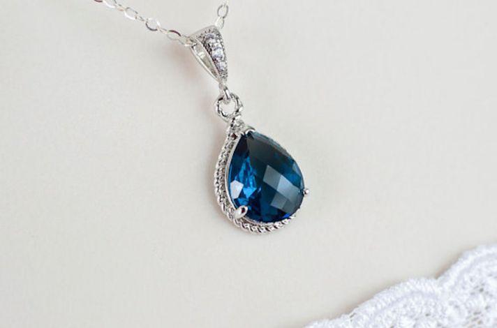 Ritani Endless Love Wedding Band 42 Marvelous Blue Sapphire Teardop Necklace
