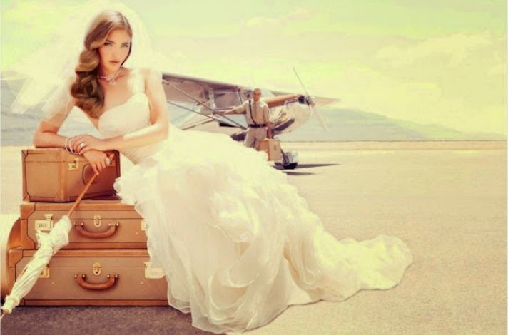 Bride on Vintage Suitcases