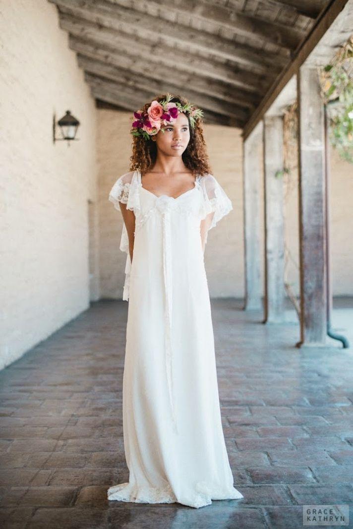 Feminine Gown with Flowy Cap Sleeves