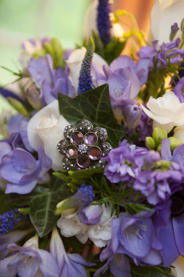 Brooch in a Purple and White Bouquet