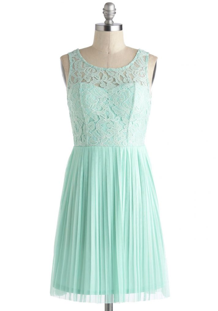 Short Mint Bridesmaid Dress with Lace Illusion Neckline