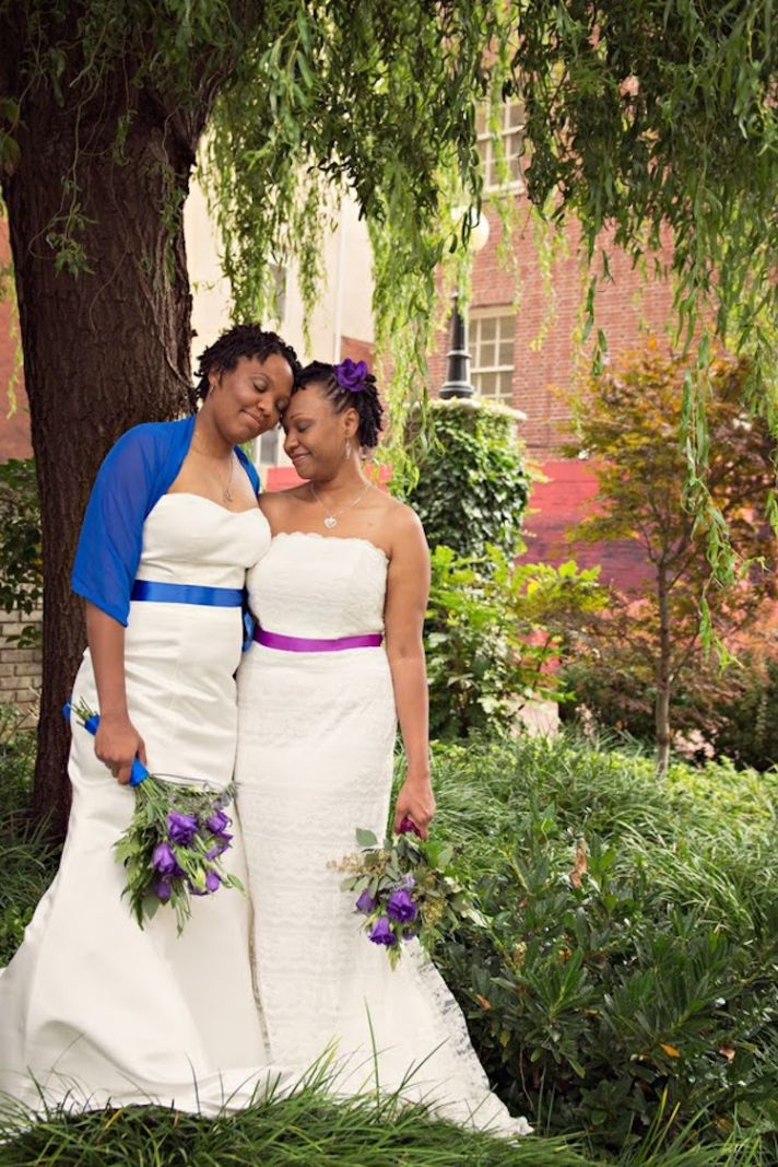 Coordinating Brides with Purple and Blue Accents