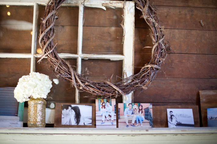 Rustic Reception Decor and Picture Display