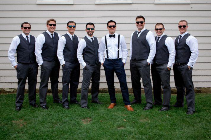 Groomsmen in Vests and Groom in Suspenders